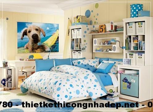 Thiết kế nội thất phòng ngủ cho bé với gam màu xanh và trắng
