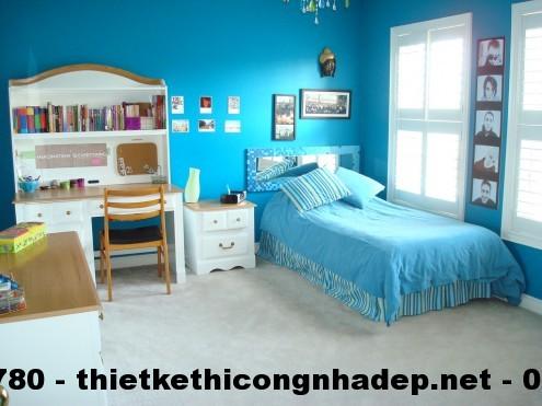 Thiết kế nội thất phòng ngủ cho bé với gam màu xanh dương