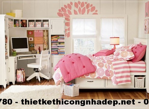 Thiết kế nội thất phòng ngủ cho bé với gam màu hồng