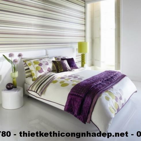 Thiết kế nội thất phòng ngủ với họa tiết kẻ sọc