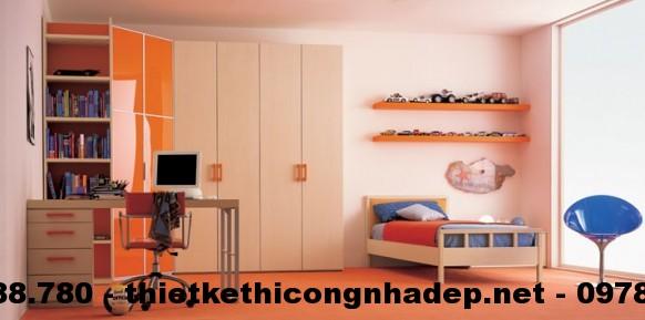 Phòng ngủ trẻ em có tông màu ấm áp