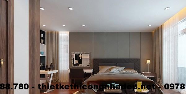 Phòng ngủ được bố trí một cách rất gọn gàng, ngăn nắp, tạo cảm giác thoải mái cho giấc ngủ của các thành viên