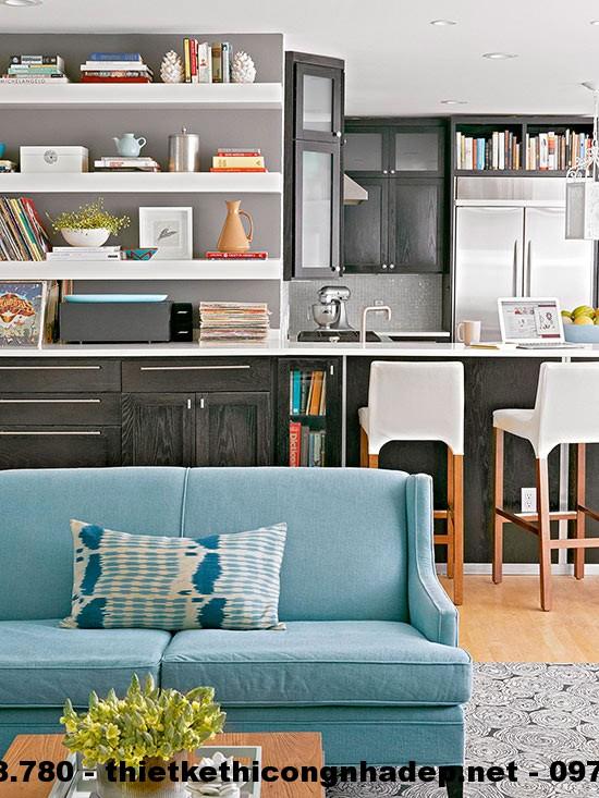 Phòng khách với sự kết hợp của nhiều màu sắc