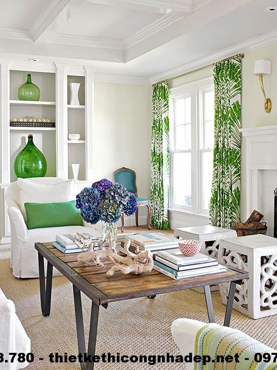 Thiết kế nội thất phòng khách này được bao chùm bởi những màu sắc của thiên nhiên