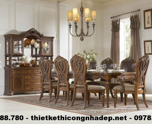 Bàn ghế ăn cổ điển Châu Âu BGACD1