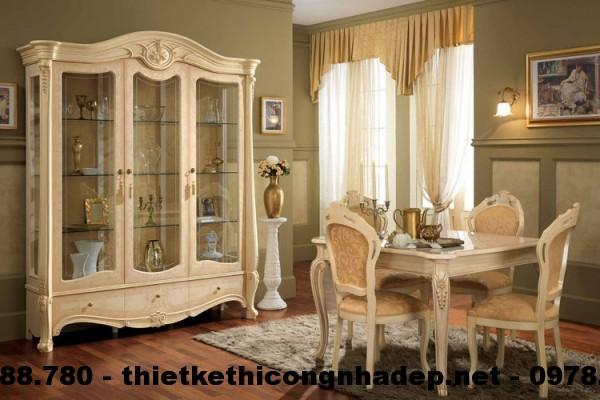 Bàn ghế ăn cổ điển Châu Âu BGACD10