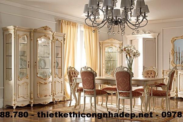 Bàn ghế ăn cổ điển Châu Âu BGACD4