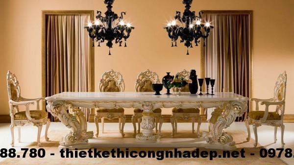 Bàn ghế ăn cổ điển Châu Âu BGACD5