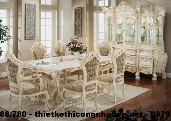 Bàn ghế ăn cổ điển Châu Âu BGACD8