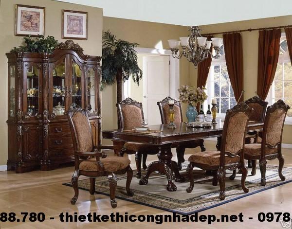 Bàn ghế ăn cổ điển Châu Âu BGACD9