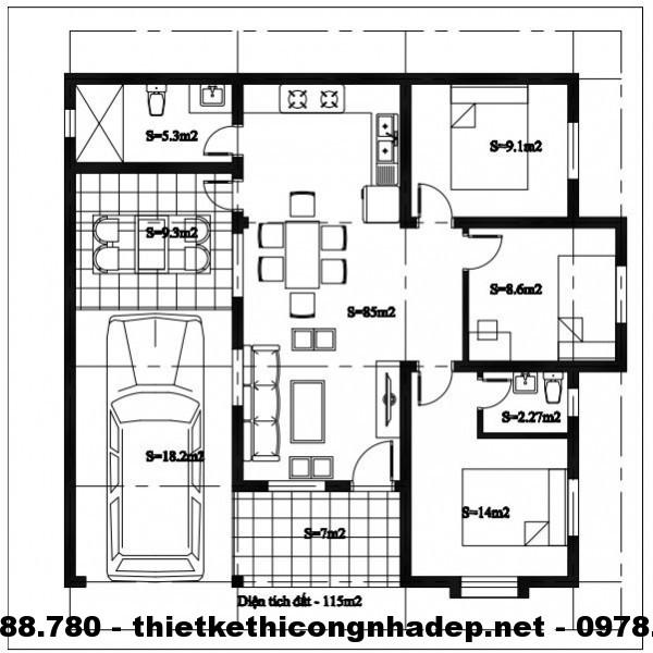 Mặt bằng nhà cấp 4 mái thái 11x11m