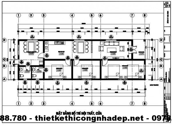 Mặt bằng nhà cấp 4 mái thái 6x20m