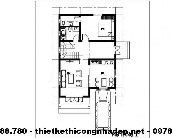 Mặt bằng tầng 1 biệt thự 8x12m