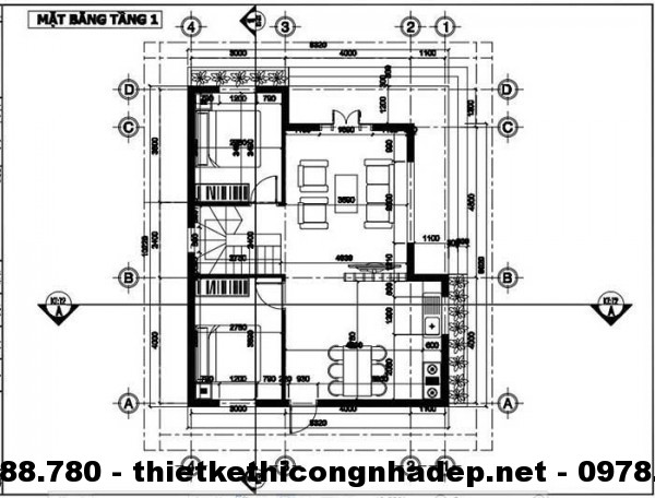 Mặt bằng tầng 1 nhà đẹp 8x10m
