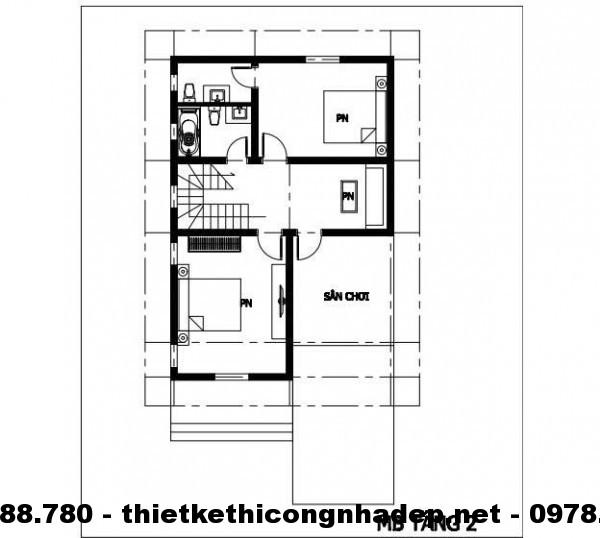 Mặt bằng tầng 2 biệt thự 8x12m