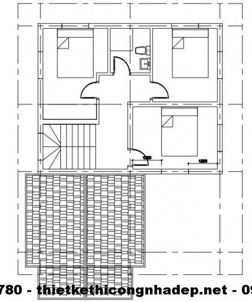 Mặt bằng tầng 2 biệt thự 2 tầng 9x11m