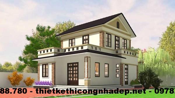 Mẫu thiết kế nhà đẹp 2 tầng tại Nghệ An 8x10m