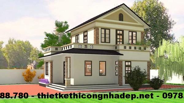 Thiết kế nhà đẹp 2 tầng 8x10m