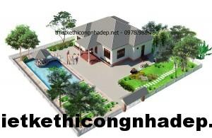 Mẫu thiết kế nhà vườn 1 tầng đẹp tại Hải Dương 12x13m