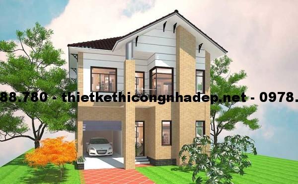Biệt thự 2 tầng mái thái 9x13m