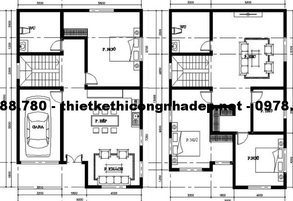 Mặt bằng biệt thự 2 tầng 9x13m
