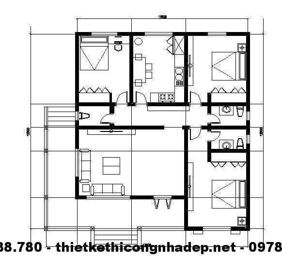 Mặt bằng nội thất nhà cấp 4 13x13m
