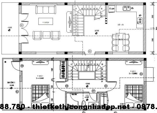 Mặt bằng tầng 1 + 2 nhà phố 4.5x12m