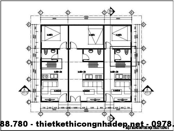 Mặt bằng tầng 1 nhà cấp 4 mái tôn