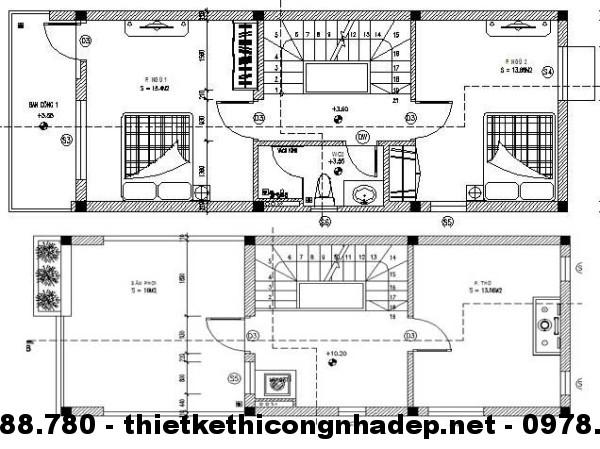 Mặt bằng tầng 3 + 4 nhà phố 4.5x12m