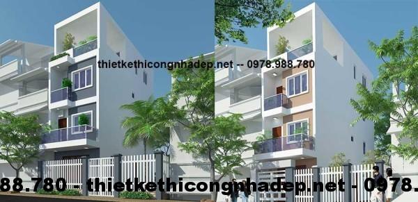 Thiết kế kiến trúc mẫu nhà 4 tầng đẹp 4.5x12m
