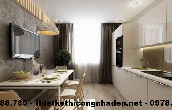 Nội thất phòng bếp nhà cấp 4 13x13m view 1