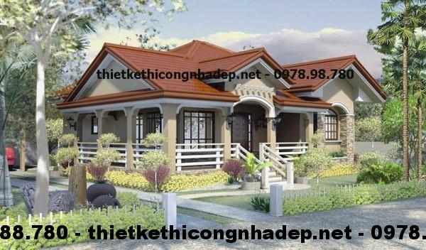 Thiết kế nội thất nhà cấp 4 đẹp 13x13m năm 2015