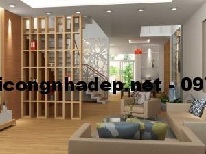 Mẫu thiết kế phòng khách nhà phố 5x20m tại Hà Tĩnh
