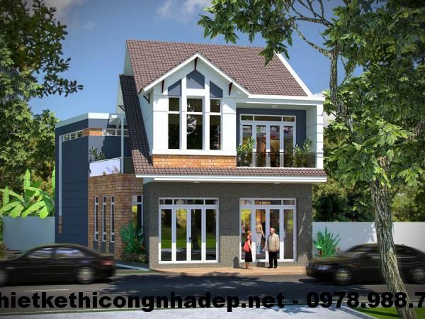 Biệt thự 2 tầng đẹp, mẫu nhà biệt thự 2 tầng đẹp 10x12m