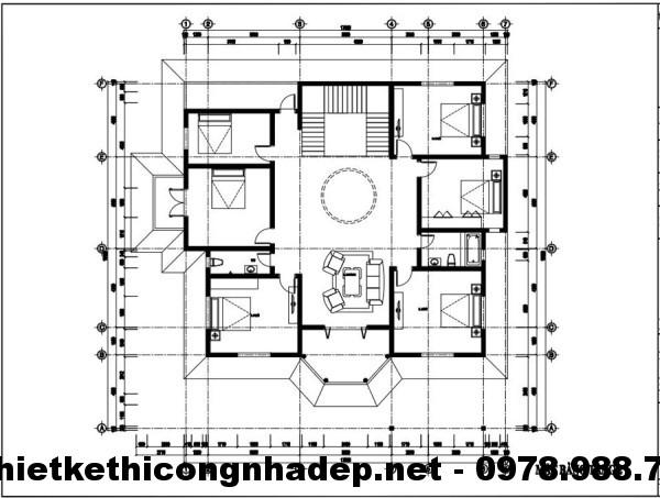 Mặt bằng tầng 2 biệt thự 15x15m