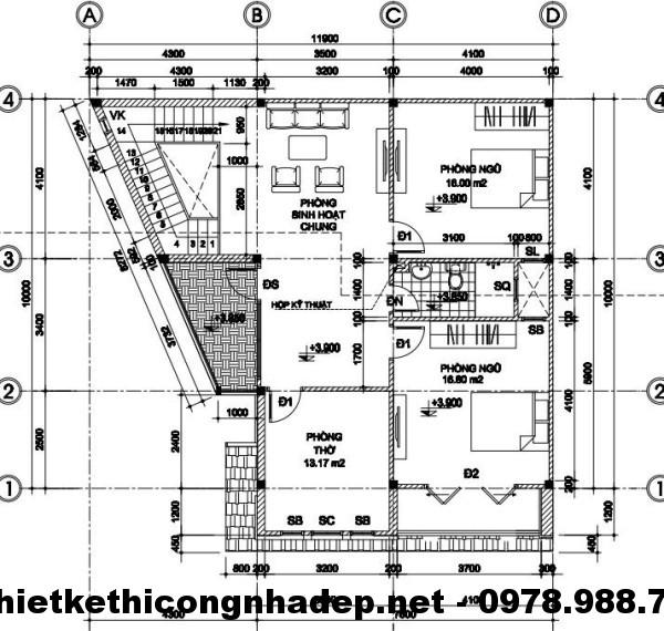 Mặt bằng tầng 2 biệt thự 2 tầng 10x12m