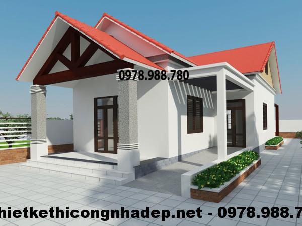 Nhà cấp 4 mái thái, thiết kế nhà cấp 4 mái thái 7x14m