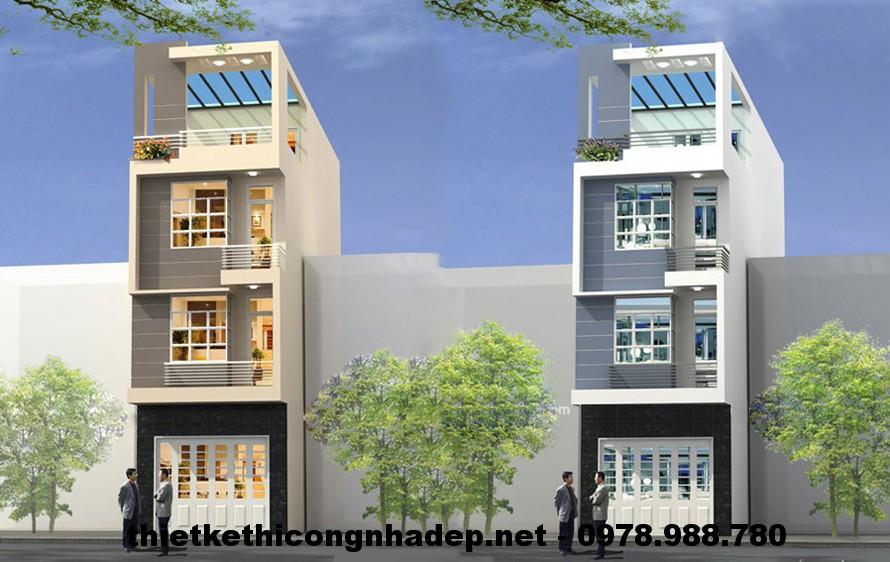 mẫu nhà phố 4 tầng đẹp