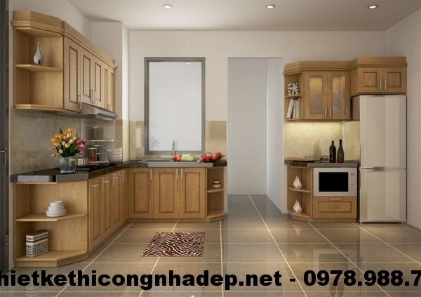Tủ bếp chung cư gỗ sồi Mỹ CT12A