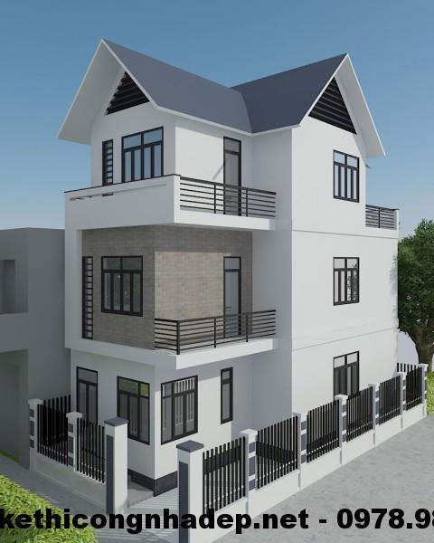 Biệt thự 3 tầng mái thái, mẫu biệt thự 3 tầng mái thái 150m2
