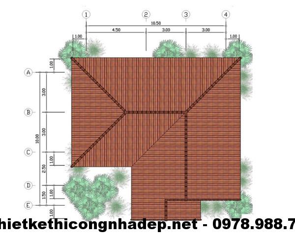 Mặt bằng mái biệt thự 1 tầng NDBT1T1