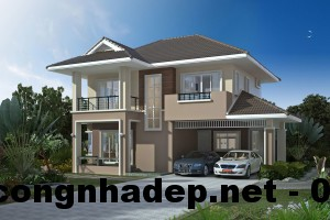 Nhà 2 tầng mái thái, thiết kế nhà 2 tầng mái thái 9x9m