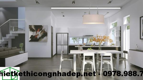 Phòng ăn và phòng bếp biệt thự