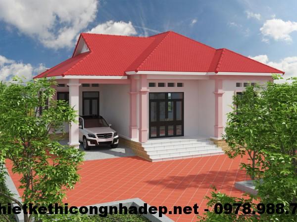 Thiết kế nhà đẹp 1 tầng, thiết kế nhà 1 tầng 4 phòng ngủ NDBT1T2
