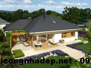 Biệt thự vườn 1 tầng đẹp, biệt thự vườn trệt đẹp NDBT1T4