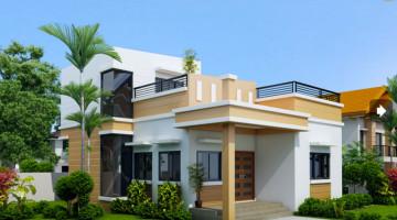 Biệt thự 2 tầng mái bằng, mẫu thiết kế nhà 2 tầng đẹp NDBT2T4