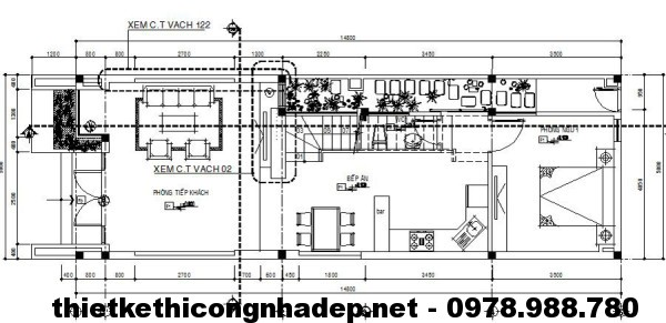Tầng 1 nhà phố 3 tầng NDNP3T1