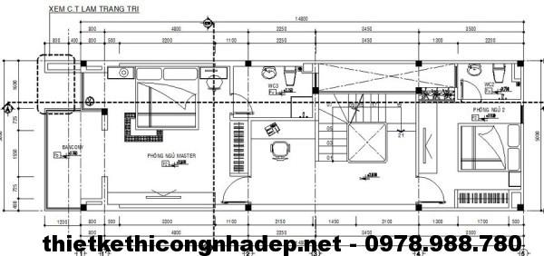 Tầng 2 và 3 nhà phố 3 tầng NDNP3T1