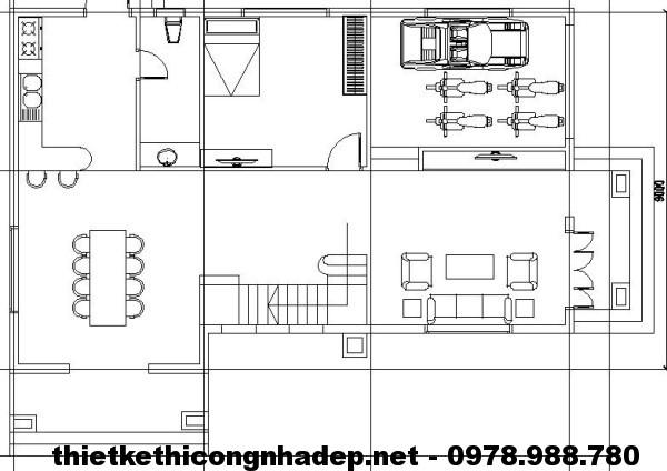 Mặt bằng tầng 1 biệt thự 2 tầng NDBT2T5