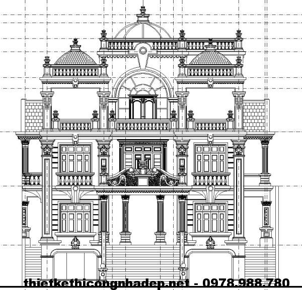 Mặt đứng biệt thự cổ điển Pháp NDBTCDP1